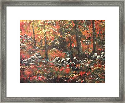 Framed Print featuring the painting Red In The Woods by Dan Whittemore