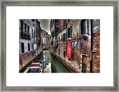 Red In Venice  Framed Print