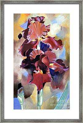 Red Irises Framed Print by Michael Stoyanov