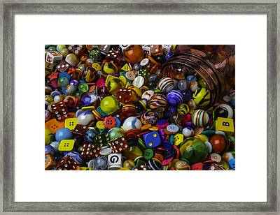 Red Jar Spilling Marble And Dice Framed Print by Garry Gay