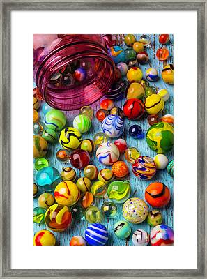 Red Jar With Colorful Marbles Framed Print by Garry Gay
