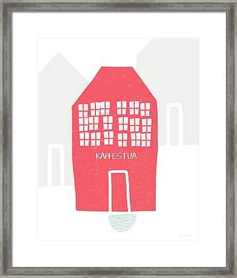 Red Kaffestua- Art By Linda Woods Framed Print