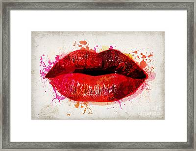 Red Kiss Watercolor Framed Print