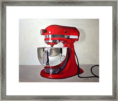 Red Kitchen Mixer Framed Print by Gail Chandler