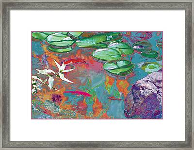 Red Koi In Green Disguise Framed Print