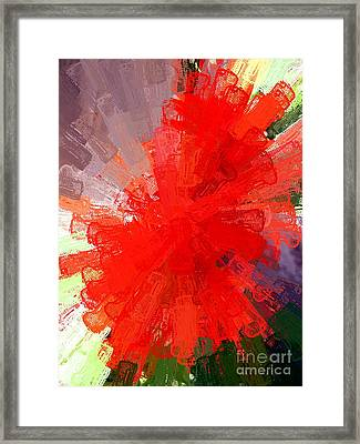 Red Lace Framed Print by Carol Grimes