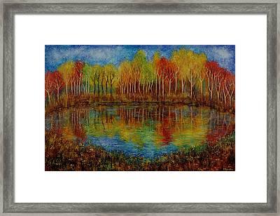 Red Lake. Framed Print by Evgenia Davidov
