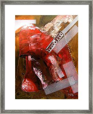 Red Lamp Transformation Framed Print by Evguenia Men