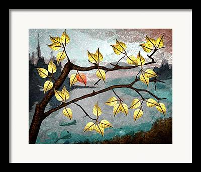 Red Leaf Digital Art Framed Prints