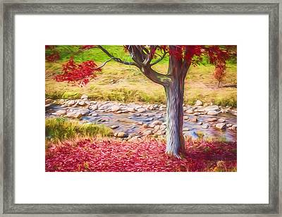 Red Leaves Falling Painted Framed Print by Black Brook Photography
