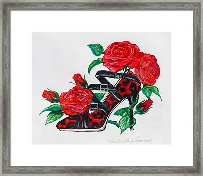 Red Leopard Roses Framed Print by Karon Melillo DeVega
