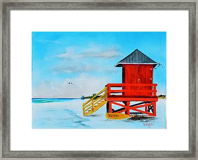 Red Life Guard Shack On The Key Framed Print