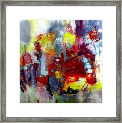 Framed Print featuring the painting Red Light by Katie Black