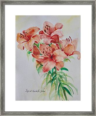 Red Lilies Framed Print by Alexandra Maria Ethlyn Cheshire
