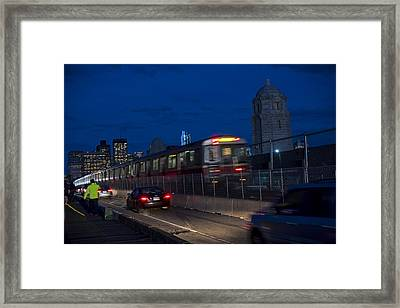 Red Line Train Rumbling Over The Longfellow Bridge In Boston Ma Framed Print by Toby McGuire