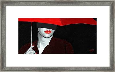 Red Lips And Umbrella Framed Print by James Shepherd