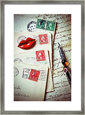 Red Lips Pin And Old Letters Framed Print by Garry Gay