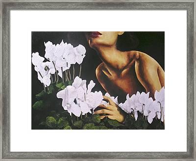 Red Lips White Flowers Framed Print by Trisha Lambi
