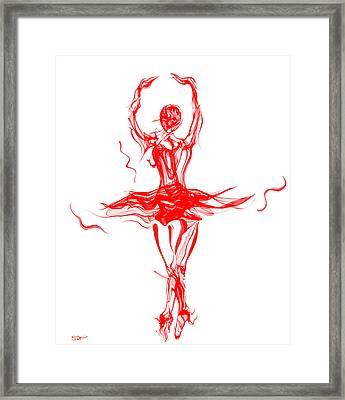 Red Lipstick Ballerina Twirling Framed Print by Abstract Angel Artist Stephen K