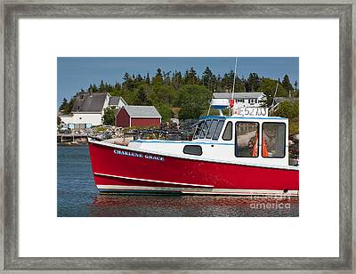 Red Lobster Boat Framed Print by Susan Cole Kelly