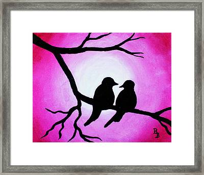 Framed Print featuring the painting Red Love Birds Silhouette by Bob Baker