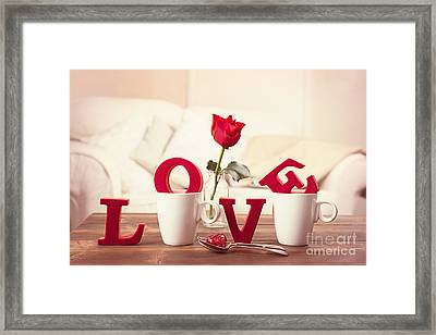 Red Love Letters For Valentines Day Framed Print by Amanda Elwell