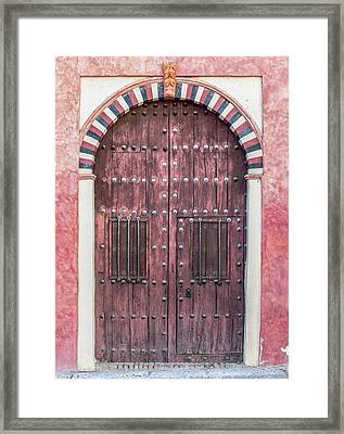 Red Medieval Wood Door Framed Print by David Letts
