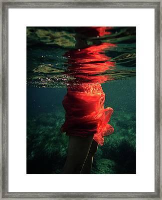 Red Mermaid Framed Print