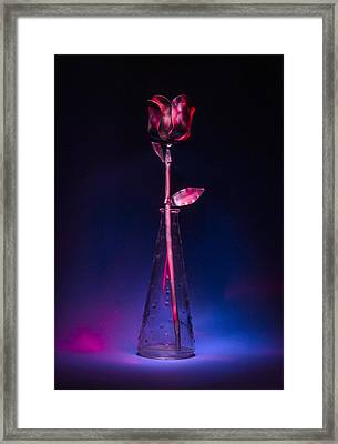 Red Metal Rose Framed Print