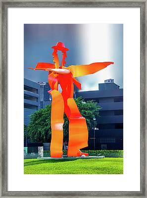 Red Metal Sculpture Framed Print