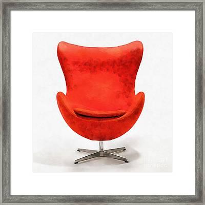 Red Mid Century Modern Chair Framed Print by Edward Fielding