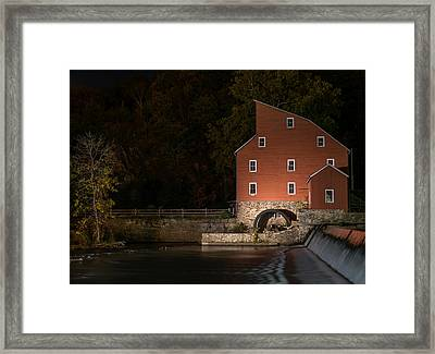 Red Mill At Night Clinton New Jersey Framed Print