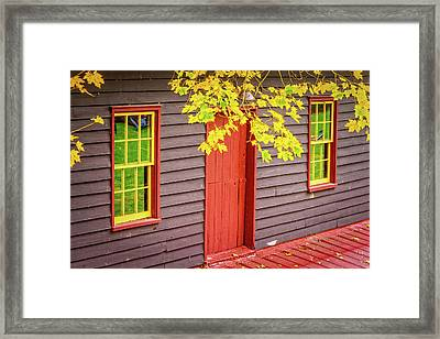Red Mill Door In Fall Framed Print