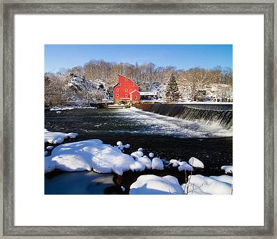Red Mill In Winter Landscape Framed Print by George Oze