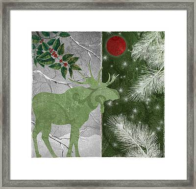 Red Moon Christmas Moose Framed Print by Mindy Sommers
