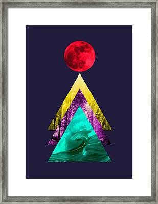 Red Moon Of Earth Framed Print by Illustratorial Pulse