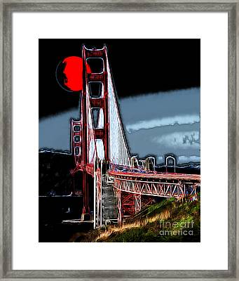 Red Moon Over The Golden Gate Bridge Framed Print by Wingsdomain Art and Photography