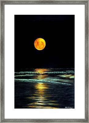 Red Moon Rising Framed Print by Antonia Citrino