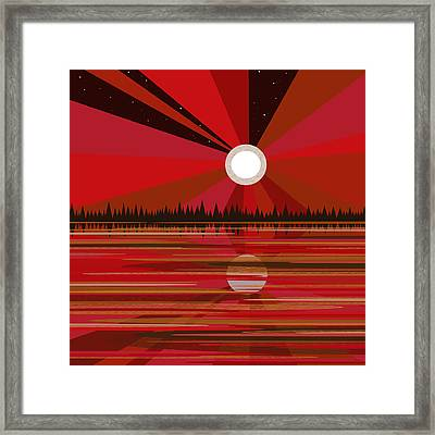 Red Moonshine Framed Print by Val Arie