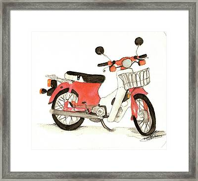 Red Motor Bike Framed Print