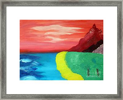 Red Mountain By The Sea Framed Print
