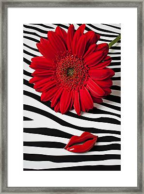 Red Mum And Red Lips Framed Print by Garry Gay