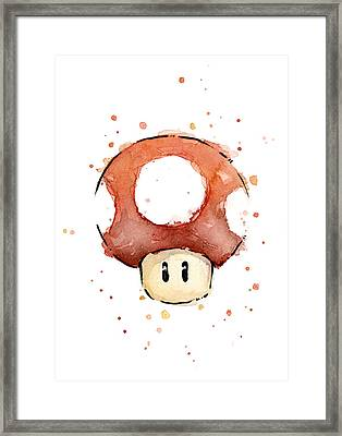 Red Mushroom Watercolor Framed Print by Olga Shvartsur