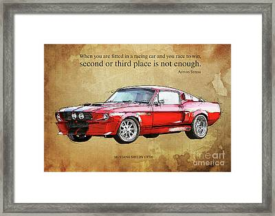 Red Mustang Gt500 Ayrton Senna Inspirational Quote Handmade Drawing, Vintage Background Framed Print by Pablo Franchi
