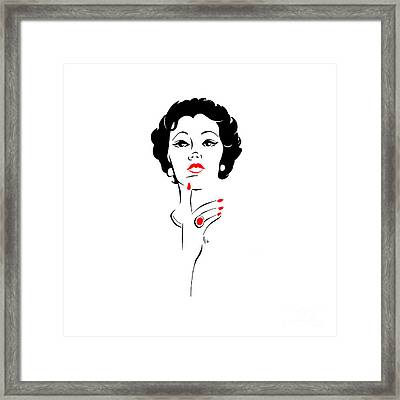 Framed Print featuring the digital art Red Nails Red Lips by Cindy Garber Iverson