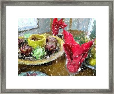 Red Napkins Framed Print by Michael Morrison