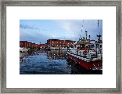 Red Naples Harbor - Vigili Del Fuoco Framed Print by Georgia Mizuleva