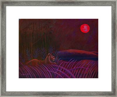 Red Night Painting 48 Framed Print by Angela Treat Lyon