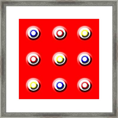 Red Nine Squared Framed Print