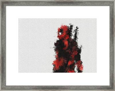 Red Ninja Framed Print by Miranda Sether